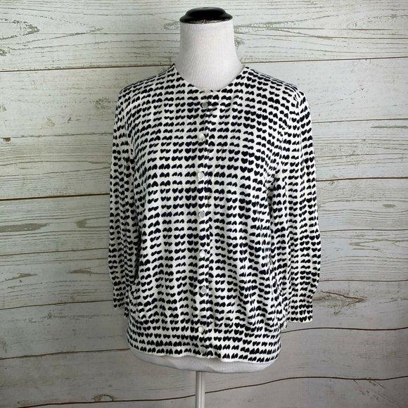 J.CREW Hearts Print Clare Cardigan Sweater Sz XL